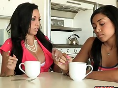 Lewd mum has lusty fun with stud during the time that daughter watches